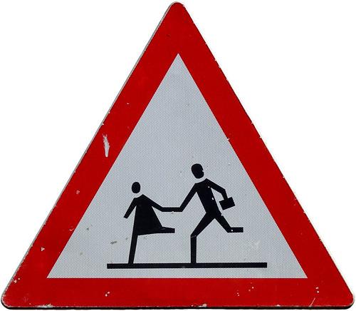 "Warning sign ""Children"" in Tuzla (AP4P0536 1PS)"