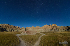 Diverging Trail (kevin-palmer) Tags: badlands nationalpark badlandsnationalpark southdakota fall autumn september nikond750 night sky stars starry astronomy astrophotography clear moonlight moonlit blue quartermoon grass path trail tokina1628mmf28 astrometrydotnet:id=nova1735696 astrometrydotnet:status=failed