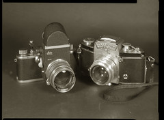 First SLRs were no-no (O9k) Tags: camera leica stilllife slr film analog studio papernegative 4x5 largeformat 9x12 schneider exakta viewcamera visoflex cameraporn selfdeveloped classiccamera summarit tessar homedeveloping symmar sinarp directpapershot