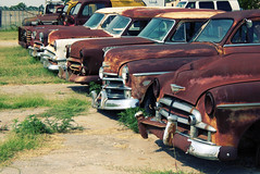 A Row of Rust on Route 66 Between Afton and Miami, Oklahoma (eoscatchlight) Tags: route66 junk rust rusty junkyard roadsideamerica onone rustyandcrusty junkers wreckingyard