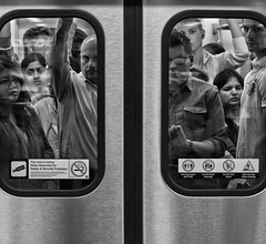 Caged Commuters (Richard Pilon) Tags: street people blackandwhite bw toronto subway blackwhite nikon candid streetphotography transportation commuters blackandwhitephotography d90 nikond90