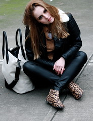 Leopard Boots 1 (MartaCanga) Tags: martacanga fashion brussels belgium city streetstyle street streetsyle style urban urbanstyle look urbanlook photography fashionphotography photos pictures outfit dayoutfit urbanoutfit streetoutfit brownhaired hair hairdo hairstyle daylook girl woman beauty portrait people model modelling pose posing colours black white blackandwhite bw leather leatherjacket leatherpants leatherjeans aviator aviatorjacket blackandwhitebag bag shoes pants jeans jacket shirt suede suedeshirt make up brownmakeup biglashes suiteblanco hm blogger