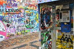 The Phone Booth (sfPhotocraft) Tags: color colors europe paint phone prague phonebooth graffitti czechrepublic lennonwall 2013