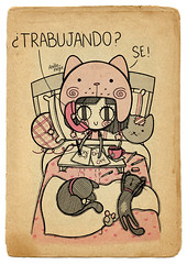 Un da comn y corriente en la vida laboral de Meja. (Anita Mejia) Tags: life cute love illustration pen ink cat day journal kitty doodle gato kawaii sanvalentin 14defebrero chocolatita anitamejia