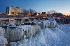 Forty Seven (Perry McKenna) Tags: ottawa walkway waterfalls bluehour day47 rideaufalls sussexdrive rideauriver frenchembassy frozenfalls day47365 3652013 365the2013edition 16feb13 pmresidencenearby