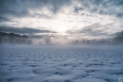 the blue moon (gregor H) Tags: winter light sunset moon snow misty clouds landscape foggy tranquility surface structure crater dreamy snowfield lunar atmospheric mystic winterstale wideness snowcover rifflepattern