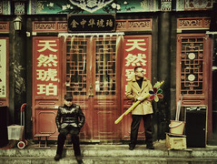 Just down the street from ma (Paul Lambert photos) Tags: china street people man market beijing streetphotography style streetphoto streetmarket streetpics streetstyle beijingstreet iphoneography iphoneonly gangnumstyle