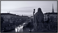 City of Angels (For_reasons_unknown) Tags: street winter sunset bw italy sculpture cars statue landscape torino mole turin moleantonelliana