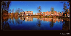 Panorama Noorderplantsoen,Groningen stad,the Netherlands,Europe (Aheroy) Tags: street city blue trees holland art water netherlands dutch architecture landscape fun town europe colours different nederland surreal fisheye hallucination groningen stad streetshot noorderplantsoen noorderbuitensingel tonemapped singlerawhdr aheroy aheroyal beautifulgroningen photographyforrecreation canonef815mmf4lfisheye
