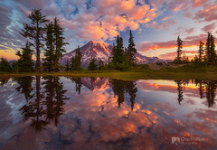 Mount Rainier Tarn Sunrise (Chip Phillips) Tags: park mountains reflection clouds sunrise washington state pacific northwest mount national rainier cascades tarn