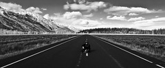 King (CNorthExplores) Tags: road park travel autumn sky bw usa white man black clouds canon king sitting open wide grand national wyoming middle teton g11 explored