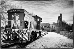 Locomotive (Explore 2013-03-11 #17) (JoKodak (Joanne)) Tags: winter bw monochrome train quebec montreal hiver engine nb explore rails locomotive oldmontreal oldport vieuxport vieuxmontral pointecallire nikond90
