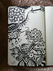 Tangled Garden (AnnieM00) Tags: fish flower bird moleskine notebook eyes pattern drawing sketchbook doodle inking fineliners zentangle zendoodle uploaded:by=flickrmobile flickriosapp:filter=nofilter anniem00