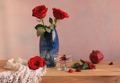 Stop And Smell The Roses (panga_ua) Tags: pink flowers red roses stilllife art love water floral beauty composition canon spectacular petals artwork artistic availablelight ukraine poetic creation imagination natalie oakwood arrangement tabletop blueglass redroses bodegon naturemorte panga artisticphotography rivne naturamorta bluevase artphotography sharpfocus stopandsmelltheroses footedbowl woodentabletop  nataliepanga glassfootedbowl pastelsbackground