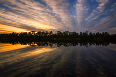 Parallel Reflection (boingyman.) Tags: longexposure sunset lake reflection nature landscape mirror folsom scape waterscape lakenatoma uwa boingyman
