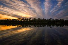 Parallel Reflection (boingyman.) Tags: longexposure sunset lake reflection nature landscape mirror folsom scape waterscape lakenatoma uwa boingyman