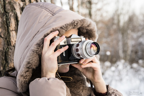 old fashioned camera winter portrait