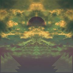 Sunrise Symmetry (BTBDesign) Tags: sky sun art skyline clouds photomanipulation sunrise circle square design photo artwork triangle graphic symmetry symmetrical beyond phot bits photomanip the grap btb