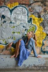 Cinderella (Red 5 Photography) Tags: bridge pink blue urban brown white yellow grey graffiti model sitting legs grunge longhair tunnel gritty lookingup shandra theme ponytail cinderella concept seated chinup blondewoman blueskirt disneytheme flowyskirt legpose princesstheme beautifuldistractions