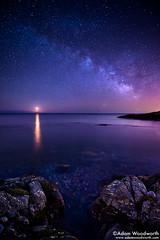 Milky Way Moonrise (Adam Woodworth) Tags: night stars newengland newhampshire atlanticocean seacoast milkyway