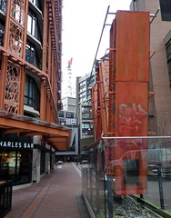 van13d13 Woodward's W Signs, Gastown BC (CanadaGood) Tags: red canada color colour building art sign vancouver downtown bc britishcolumbia gastown woodwards 2013 canadagood thisdecade