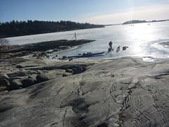 Björkvik med kajaker på isen Photo