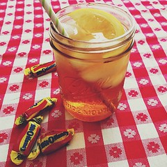 a lovely 77 outside today. Yay! (life stories photography) Tags: ice kitchen glass square table lemon candy tea straw squareformat jar april sweettea icetea 2013 iphoneography instagramapp uploaded:by=instagram
