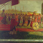 """<b>Ganger-Rolf Becomes Sovereign of Normandy, Yr. 911</b><br/> Biorn, #189, Oil, Painting<a href=""""http://farm9.static.flickr.com/8525/8652930654_d36283508b_o.jpg"""" title=""""High res"""">∝</a>"""