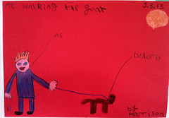 Walking the goats at Cobble Hey (bryanpage) Tags: art children harrison drawing goat harrisonhendrixpage harrisonpage cobblehey