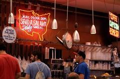Send a Salami (Photographs By Wade) Tags: newyorkcity newyork manhattan katzs katzsdeli restaurant delicatessan people man men sendasalami lowereastside signs neon food scales kitchen lights