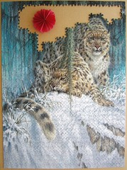 Ghosts in the Moonlight - Snow Leopards (Leonisha) Tags: puzzle jigsawpuzzle unfinished