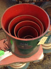 "ENGLISH MEASURING BARRELS IN GREEN PAINT. • <a style=""font-size:0.8em;"" href=""http://www.flickr.com/photos/51721355@N02/28560340341/"" target=""_blank"">View on Flickr</a>"