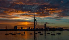 Sunrise in portsmouth (veik88) Tags: nikon nikon20mm18g nikond800 sunrise landscape harbour coast sea gunwharf spinnakertower seascape