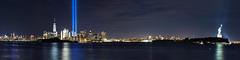 Tribute In Light - Manhattan / Statue of Liberty September 11, 2016 (Al Camardella Jr.) Tags: manhattan newyorkcity tributeinlights worldtradecenter nyc 15th anniversary longexposure freedom tower freedomtower libertystatepark 15thanniversary september11 brooklynbridge newyorkharbor