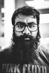 Pune, August 2016 (Anant N S (www.thelensor.tumblr.com)) Tags: portraitofastranger portrait streetportrait streetphotography streetportraiture blackandwhite monochrome nikon depthoffield d3200 beard man pinkfloyd tshirt glasses eyeglasses