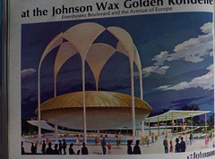 Johnson Wax Golden Rondelle at NYWF - IMGP3588 (catchesthelight) Tags: 1964 nywf vintageads peacethroughunderstanding worldsfair worldsfairgrounds ny nyc queens unisphere flushingmeadownewyork newyorkworldsfairsouvenirbooklet 1960s advertising copyrighted 196465nyworldsfair souvenirs buildings miniphotos handheldshots notscans 19641965 communications picturephones futuristic worldsfairpavilions tobealive globalvillagesatnywf
