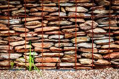 Stone Wall Namibian Style (Daniela 59) Tags: wall wallwednesday stone stonewall stonework grid metal metalgrid rusty pebbles grass daanviljoengamepark danielaruppel