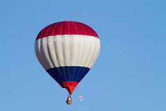 Red, white & blue (Mukumbura) Tags: red white blue hot air balloon flight sky flying floating drifting wind britain