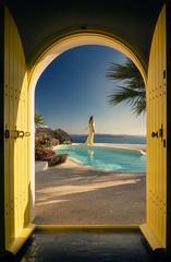 WAITING (Titanium007) Tags: santorini sunrise yellowdoors bluesky swimmingpool islandlife island seaside beach palmtrees greece travel tourism summer warmth shadows