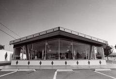 Exa 1C Burger Chef () Tags: vintage retro classic film camera losangeles california riverside history west coast architcture eastgerman ddr gdr exa dresden slr 35mm black white bw kodak tmax m42 route66