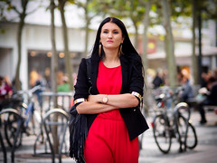 (graveur8x) Tags: woman red lady dof candid street portrait jacket contrast frankfurt germany deutschland streetphotography outdoor outside zeil lights bokeh olympus olympusem10markii olympusm75mmf18 zuiko 75mm microfourthirds m43 city stadt