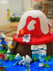P1014729 (Pastries by Design) Tags: cake carved shaped toadstool smurf smurfs