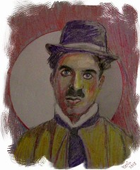 Charlie Chaplin (CrystalRobot) Tags: celebrity art face pen pencil paper sketch artist drawing mixedmedia portait famous sketchbook popart actor charliechaplin watercolorpencils silentfilms wetbrush