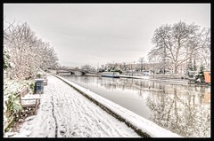Cold (James Waghorn) Tags: bridge winter england snow cold tree reflections river bench boat kent nikon ducks sigma ultrawide hdr maidstone lightroom sigma1020 d5000 topazadjust blinkagain bestofblinkwinners blinksuperstars