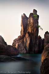 twin tower (funkytravel) Tags: ocean longexposure blue sea panorama holiday color nature rock stone painting landscape asian thailand colorful asia southeastasia seafood asie decorate bluegreen kohchang waterscape gulfofthailand blurmotion
