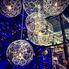 Light up the night. (MyWorldBazaar) Tags: light lamp square steel squareformat electricity etch interiordesign homedecor pendant stainless tomdixon iphoneography instagramapp xproii