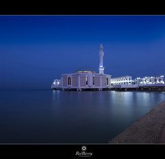 Fatima Mosque (RedBerry) Tags: city travel blue sea reflection water architecture dawn nikon redsea wide mosque tokina corniche jeddah popular    d90        1116mm