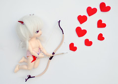 ADAD 14th Febuary - Happy Valentines (PositivelyThrifty) Tags: red cute love hearts romance tiny bow valentines bjd cupid fairyland adad pukifee