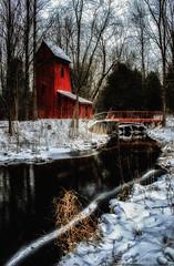 A River Runs Through It @ Sheaves Tower, Blair Ontario (B.E.K.) Tags: bridge red whi