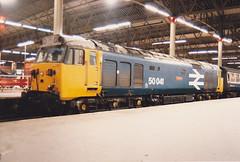 50041 Bulwark 14th Aug 1987  London Waterloo (Ian Sharman 1963) Tags: london train diesel 1987 class waterloo passenger aug 14th 50 bulwark 50041